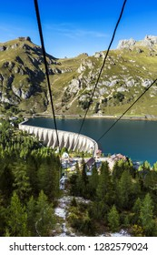 Views of Marmolada mountain massif, Gran Vernel and Collac summits and Lago Fedaia, Dolomites, Italy,Europe