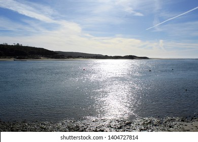 Views of the Mira River flowing into the Atlantic Ocean. Vila Nova de Milfontes. Portugal