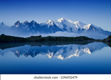 Views of the Mont Blanc glacier with Lac Blanc (White Lake). Popular tourist attraction. Picturesque and gorgeous scene. Location place Nature Reserve Aiguilles Rouges, Graian Alps, France, Europe