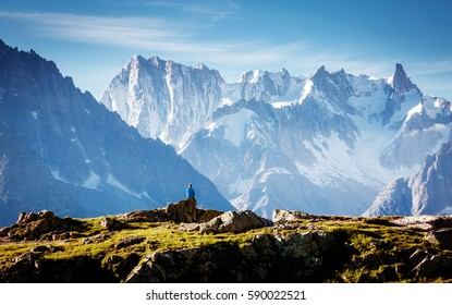 Views of the Mont Blanc glacier with Lac Blanc (White Lake). Popular tourist attraction. Picturesque and gorgeous scene. Location place Nature Reserve Aiguilles Rouges, Graian Alps, France, Europe.
