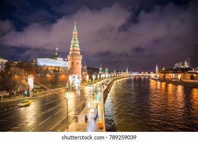 views of Moscow in the night illumination, festive lighting of the city