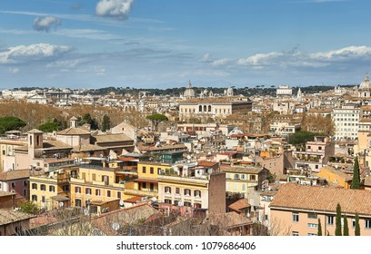views from Mount Gianicolo  over the Trastevere neighborhood in Rome