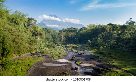 Views of Mount Merapi and offroad car lovers