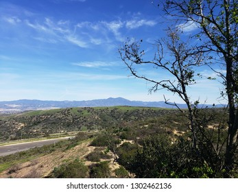 Views of mountains from across a freeway, Orange County