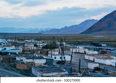 The views of Murghab (Murghob) village, in Pamir mountains,Gorno Badakhshan Autonomous Region, Tajikistan,Central Asia. Locates on Pamir Highway.