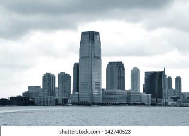 Views of the New Jersey side of the river Hudson. Monochrome