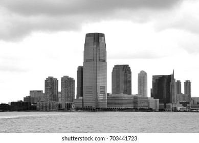 Views of the New Jersey side of the river Hudson. B&W