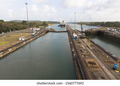 Views of the northernmost of the Gatun Locks of the Panama Canal, Panama