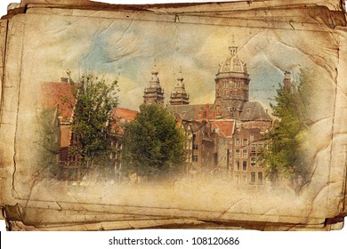 views of old Amsterdam in vantage style, like postcards