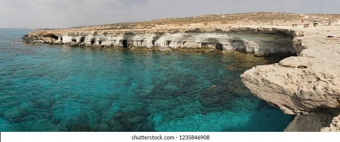 Views on the Capo Greco coast line in Ayia Napa, Cyprus.