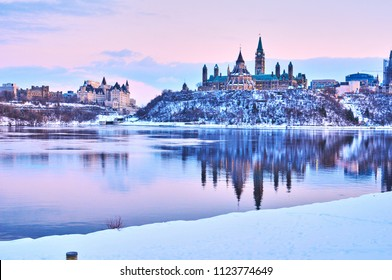 Views of Ottawa, Canada during snow storm in winter during daytime