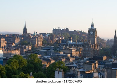 Views over Edinburgh City from Carlton Hill and Monument at Sunset