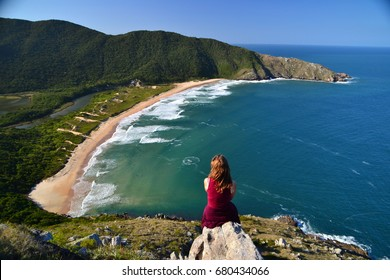 Views over Lagoinha do Leste, a beautiful remote beach on the island of Florianopolis, Brazil