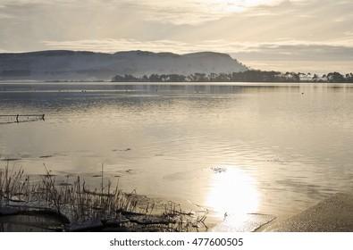 Views over Loch Leven to Lomond Hills Regional Park, Scotland