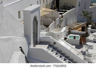 Views over the rooftops of a mediterranean village on the cliffs of Santorini Island, Greece.