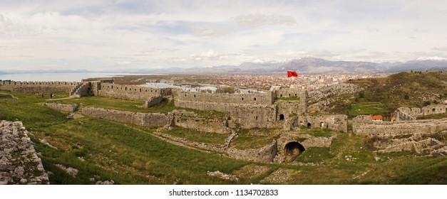 Views over Shkodër from the Rozafa Castle in Albania.