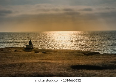Views of the Pacific Ocean off the California Coast at Sunset Cliffs Natural Park near La Jolla Beach and San Diego at sunset