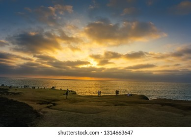 Views of the Pacific Ocean off the California Coast at Sunset Cliffs Natural Park near La Jolla Beach and San Diego at sunset.