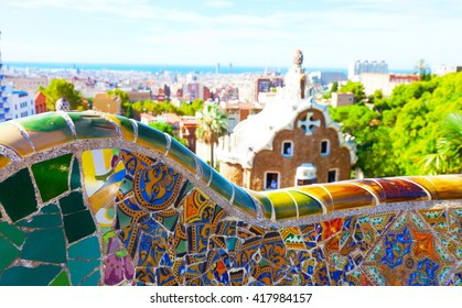 Views from the Park Guell designed by Antoni Gaudi, Barcelona, Spain