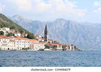 Views of Perast from the island of Our Lady of the Rock