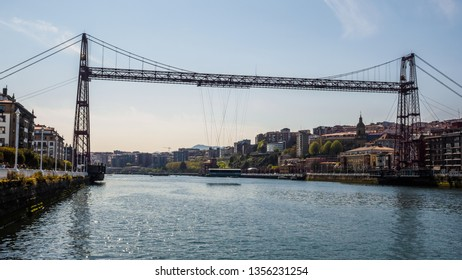 Views of Portugalete from the Puente Colgante or Puente de Bizkaia, sunny day