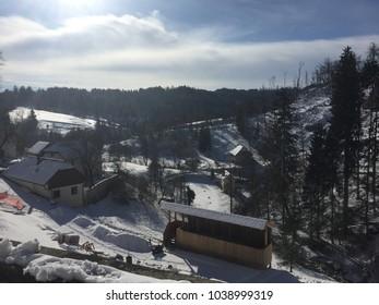 Views of Postojna, Slovenia in winter