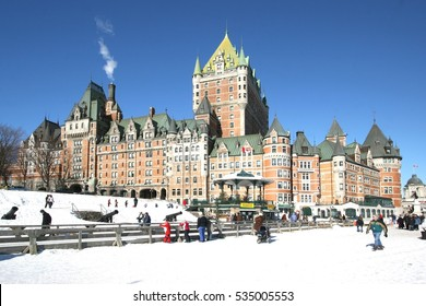 Views of Quebec city, Canada in winter with Chateau Frontenac