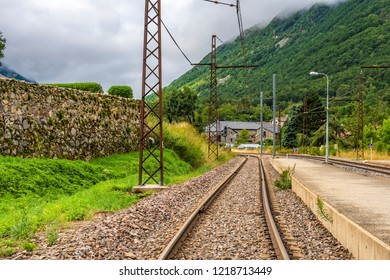 Views of the railroad tracks in the Pyrenees near Andorra in the French village of Merens-les-vals. Ariege France