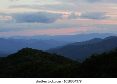 Views of the ridges in the Smokey Mountains during a late sunset.