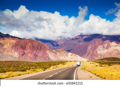 Views from road RN 7 (Ruta Nacional 7) to Andes mountains, Argentina, Patagonia, South America
