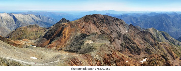 Views of rocky peaks from Pica d'Estats summit, top of Catalonia, Pyrenees