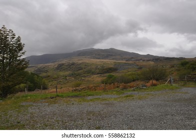 Views of the route up to Mt Snowdon summit from  Rhyd Ddu, a small village in Snowdonia, North Wales which is a starting point for walks up Snowdon, Moel Hebog, Yr Aran and the Nantlle Ridge.
