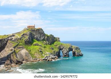 views to san juan de gaztelugatxe island at basque country coast
