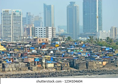 Views of slums on the shores of mumbai, India