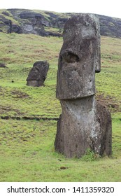 Views of statues on Easter Island, Chile