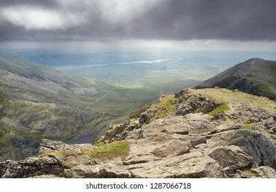 Views from the summit of Dow Crag towards the Old Man of Coniston and Coniston Water in the English Lake District.