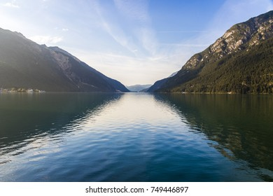 Views at sunset of Lake Achen (Achensee), a lake north of Jenbach in Tyrol, Austria