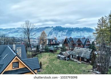 with views of the Tatras villas in Zakopane morning Poland