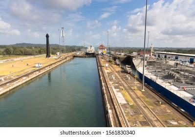 Views of the third of the Gatun Locks of the Panama Canal, Panama