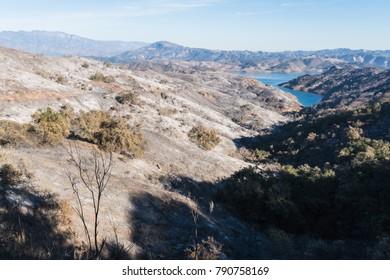 Views of Thomas Fire damage in the hills around Lake Casitas in Ojai, California