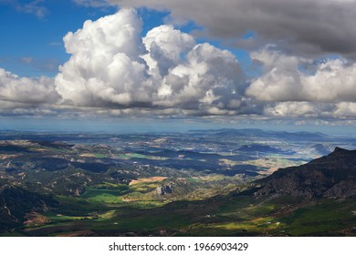 views of the towns of Teba and Campillos in the Guadalteba region, in the province of Malaga, from the Sierra Prieta peak. Andalusia, Spain