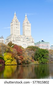 Views of two of the most iconic buildings of the Upper West Side (San Remo and Dakota) from The Lake