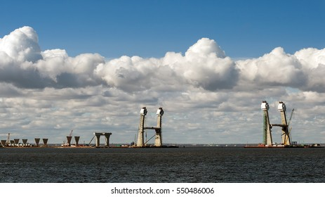 Views under construction Western high speed diameter in Saint-Petersburg on the Gulf of Finland.