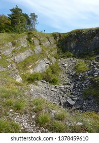 Views of the Vaucelle Quarry (Carrière de la Vaucelle), a Site of Biological interest with chalk grassland, oak and hornbeam forest and rocky cliffs in the Calestienne region of South Belgium