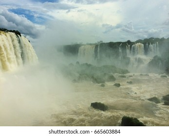 Views of the waterfalls at Iguazu, on the border of Brazil and Argentina