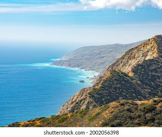 Views of the West Coast of Catalina island with deep blue and aqua water, seen from the Trans Catalina Hiking Trail