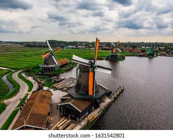 views of Zaanse Schans windmills from sky