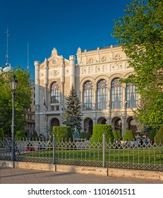 Vigado Concert Hall and Square (Vigado Ter) in Budapest, Hungary