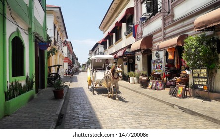 Vigan City, Philippines - May 13, 2016 in Calle Crisologo of Vigan City Philippines. Vigan is a UNESCO World Heritage Site