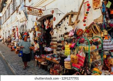 Vigan, Philippines - Feb 26, 2012: The local scene of the market in Calle Crisologo of Vigan City in the province of Ilocos, Philippines.